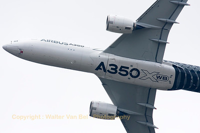 Close-up of the Airbus A350-941 (F-WWCF; cn002) during her demo at the Paris Air Show 2015.