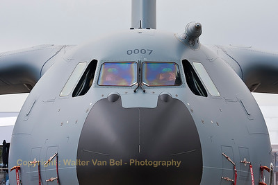 "Close-up of a French Air Force A400M ""Atlas"" (0007; F-RBAA; cn007), in the static parc of the 2015 Paris Air Show."