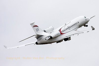 The Dassault Falcon 8X (F-WWQA; cn 001) takes off - in real fighter style - for her display during the 2015 Paris Air Show.