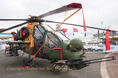 Turkish Army Agusta Westland (TUSAS) T-129A ATAK (13-1011) in the static park at the 2015 Paris Air Show.
