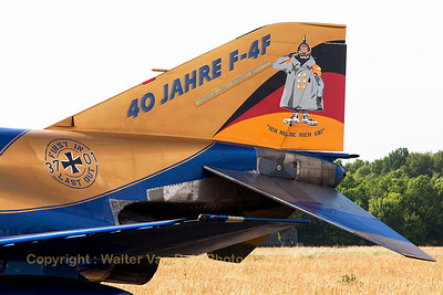 Tail close-up of JG71-Richthofen's celebration F-4F Phantom II (37+01, cn4330), proudly showing her special c/s for 40 years F-4F Phantom II operations within the German Air Force, in the static line-up at Volkel Air Base. This was her phinal trip abroad, before being decomissioned two weeks later ;-(