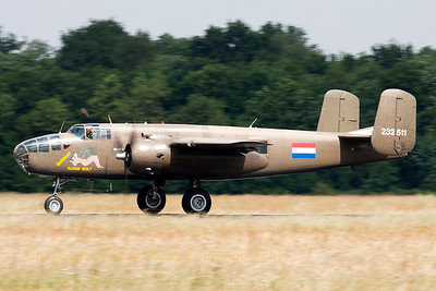 The TB-25N Mitchell (N320SQ, 232511, N5-149, cn108-32782) of the RNLAF Historical Flight Foundation, rolling out after landing at Volkel Air Base (Luchtmachtdagen 2013).