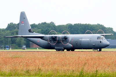 A Royal Danish Air Force C-130J-30 (B-538, cn382-5538), backtracking on Volkel's runway (Luchtmachtdagen 2013).
