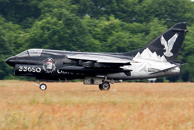 "Very striking c/s on this Hellenic A-7E Corsair from 335MV (336Squadron ""Mount Olympus""). It is seen here during its landing run on Volkel's runway during the arrival day for the Airshow (Luchtmachtdagen 2013)."