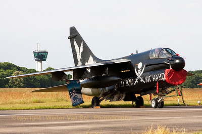 """""""Fly Low...Hit Hard"""". Very striking c/s on this Hellenic A-7E Corsair from 335MV (336Squadron """"Mount Olympus""""). It is seen here in the static during the Volkel Airshow (Luchtmachtdagen 2013)."""