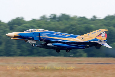 "JG71's celebration F-4F Phantom II (37+01, cn4330) is seen here arriving at Volkel, performing a phantastic ""touch-and-go"". This Phantom wears the special c/s for ""40 years F-4F Phantom II operations within the German Air Force"". It also wears a special stamp around its registration ""First in Last out"" and Spooky states ""Ich melde mich ab"" on the colorful tail."