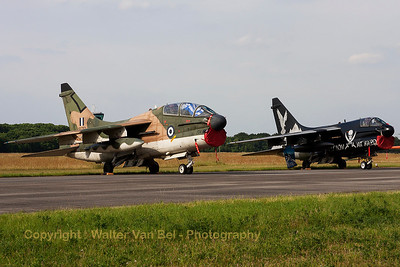 "Two Greek beauties in the static parc at Volkel Air Base (Luchtmachtdagen 2013), a TA-7C Corsair II (156753,cnE20/TE30) and a A-7E Corsair II from 335MV (336Squadron ""Mount Olympus"")."