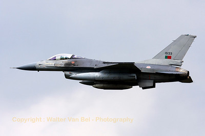 This Portugese Air Force F-16AM (15133, cn61-629/M17-17) is seen arriving over Volkel Air Base, under poor weather conditions, during the arrival day for the Airshow (Luchtmachtdagen 2013).