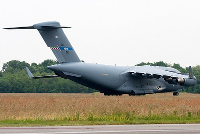 Hungarian Air Force C-17A Globemaster III (08-002, cnF-210/SAC-2), backtracking on the runway, after arrival at Volkel Air Base during the arrival day for the Airshow (Luchtmachtdagen 2013). This is one of three C-17A's operated by NATO Strategic Airlift Capability, based at Pápa Air Base in Hungary.