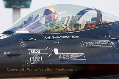 "Capt. Stefan ""Stitch"" Hutten, in his ""Orange Lion"", prior to the start of his demo at Volkel Air Base."