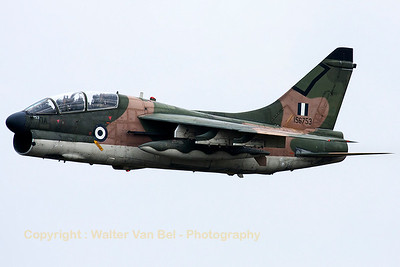 This TA-7C Corsair II is seen arriving over Volkel Air Base, under adverse weather conditions, during the arrival day for the Airshow (Luchtmachtdagen 2013).