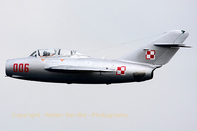 "Nice ""natural metal"" MiG-15UTI, in the c/s of the Polish Air Force, at the Volkel Airshow (Luchtmachtdagen 2013)."
