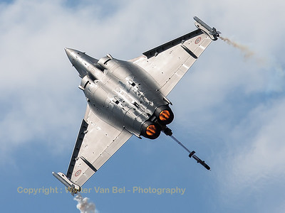"The French Air Force Rafale display-team, used the ""Tiger""-Rafale C (113-GU; cn142) from EC1/7 ""Provence"", during the display at BA133 (Nancy-Ochey)."
