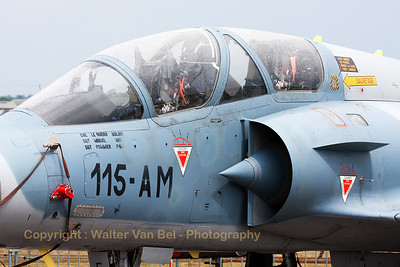 Close-up of a French Air Force Mirage 2000B (525; 115-AM; cn400) from EC2/5 (Ile de France) at Orange/Caritat (LFMO), in static display at BA113 (Nancy-Ochey).