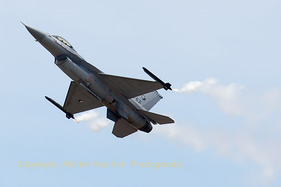 "The Royal Netherlands Air Force F-16AM (J-631; cn6D-63) from 322 sqn, performing the high-alpha & slow fly-by, during the ""Meeting de l'Air 2014"" at Base Aérienne 133 Nancy-Ochey."