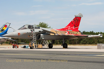 "The French Air Force Rafale display-team, used the ""Tiger""-Rafale C (113-GU; cn142) from EC1/7 ""Provence"", during the display at BA133 (Nancy-Ochey). Here, the ""Thunder Tiger"" is seen at the flight-line, prior to its display."