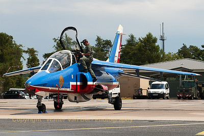"""Patrouille de France"" Alpha Jet (E95; 0), the spare aircraft of the team, on the flight-line at BA133 Nancy-Ochey."