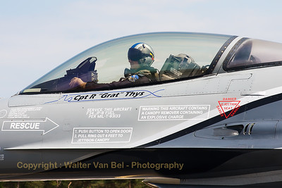"The Belgian Air Force demo F-16AM (FA-84; cn6H-84), piloted by Cpt R. ""Grat"" Thys, is ready to ""rock & roll"", on his way for another amazing display at BA133 (Nancy-Ochey)."