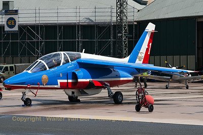 """Patrouille de France"" Alpha Jet (E162; 1), the aircraft of the leader of the team, on the flight-line at BA133 Nancy-Ochey."