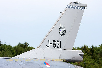 Tail close-up of the Royal Netherlands Air Force F-16AM (J-631; cn6D-63) from 322 sqn, at the flight-line of BA133 (Nancy-Ochey).