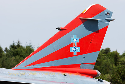 "Tail close-up of this French Air Force Mirage F1B (502; 118-SW) from ER2/33 (Savoie) which forms, together with another Mirage F1CR, the ""Patrouille CAROL HOTEL"" based at Mont-de-Marsan. The team made its final display at Nancy-Ochey today (July 6th, 2014)."