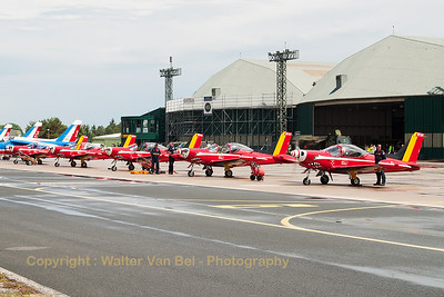 "The Belgian Air Force ""Red Devils"", nicely lined-up on the flight-line at BA133 Nancy-Ochey. Closest to the camera is SF-260M (ST-34; cn10-34), next are ST-31, ST-03, ST-27 and ST-15."