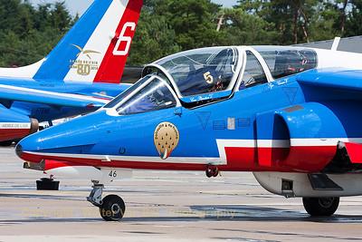 """Close-up of """"Patrouille de France"""" Alpha Jet (E46; 5), on the flight-line at BA133 Nancy-Ochey."""
