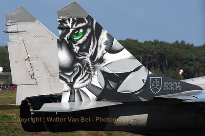 Tail close-up of a Slovakia Air Force MiG-29UBS (5304; cnN50903028253), showing its beautiful Tiger c/s during the Belgian Air Force Days 2014 at KB.
