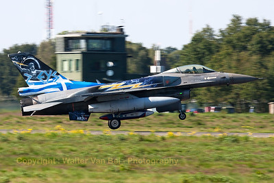 """ZEUS"", the Greek Air Force solo demo on F-16C (505; cnXK-6) form 343 Mira, is seen arriving at KB - seconds before touchdown - during the spottersday, prior to the Belgian Air Force days 2014."