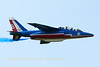 "An Alpha Jet E (E162; c/s F-TERJ) from the ""Patrouille de France"", practising its display during the arrival day prior to the Belgian Air Force Days 2014."