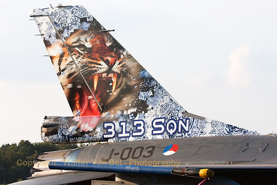 Tail close-up of a Royal Netherlands Air Force F-16AM (J-003; cn6D-159) from 313Sqn, in the static at KB.