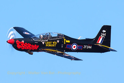RAF Tucano T1 (ZF244; 244; cnS50/T45) from 72(R)sq, performs a final fly-by at the end of its display at Southport Airshow.