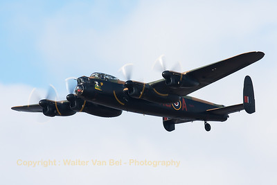 """Avro 683 Lancaster B1 """"Thumper"""" (PA474; KC-A), opperated by the BBMF, is one of the two airworthy Lancasters in the world, and is seen here during her display at Southport 2014."""