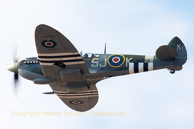 This Supermarine Spitfire LF9C (MK356; 5J-K; cnCBAF.IX.1561) is a combat veteran which now operates with the BBMF. She is seen here at the 2014 Southport Airshow.
