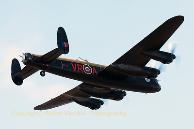"""Canadian Warplane Heritage AVRO 683 Lancaster B10 """"VeRA"""" (C-GVRA; KB726; VR-A; cn3414) - one of the last two remaining airworthy Lancasters in the world - shows her gracefull lines to the spectators at Southport Airshow."""