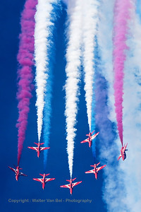 The RAF Red Arrows (XX319; cn162/312144) performing the vertical break, during their opening display at Southport Airshow 2014.
