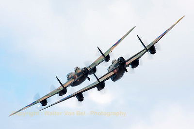 """The Lancaster pair displaying at Soutport Airshow. The Canadian Warplane Heritage Museum sent their Lancaster """"Vera"""" over to the UK for a tour alongside """"Thumper"""" from the BBMF."""