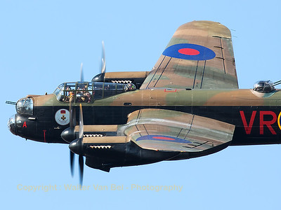Close-up of VeRA (Canadian Warplane Heritage AVRO 683 Lancaster B10) - one of the last two remaining airworthy Lancasters in the world  - while she shows her topside to the spectators at Southport Airshow.