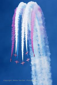 The RAF Red Arrows (XX322; cn165/312147) performing the vertical break, during their opening display at Southport Airshow 2014.