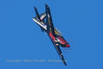 RAF Tucano T1 (ZF244; 244; cnS50/T45) from 72(R)sq, performs a steep dive during its display at Southport Airshow.