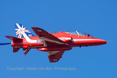 The RAF Red Arrows (here XX244; cn080/312080) displaying at Southport Airshow 2014, showing their special anniversary paint scheme for the team's 50th display year.
