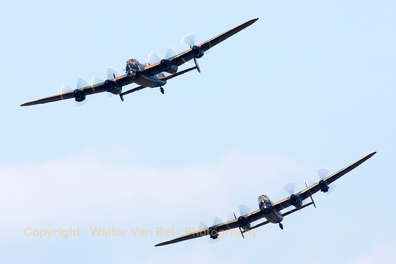 "The Lancaster pair displaying at Soutport Airshow. The Canadian Warplane Heritage Museum sent their Lancaster ""Vera"" over to the UK for a tour alongside ""Thumper"" from the BBMF."