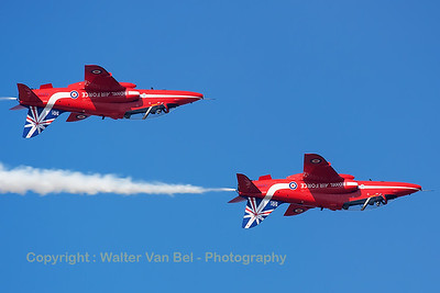 The RAF Red Arrows (here XX323 & XX319 in inverted formation) displaying at Southport Airshow 2014, showing their special anniversary paint scheme for the team's 50th display year.