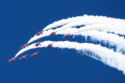 The RAF Red Arrows (XX319; cn 162/312144), performing their last display in the UK during the 2014 season (Southport Airshow 2014).