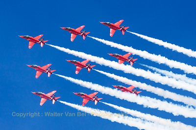 The RAF Red Arrows (XX322; cn165/312147) in their diamond-9 formation, during their opening display at Southport Airshow 2014. The Red Arrows wear their special anniversary paint scheme for the team's 50th display year.