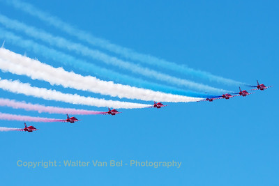 The RAF Red Arrows (XX244; cn080/312080) at the start of their diamond-9 formation loop, during their opening display at Southport Airshow 2014.