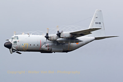 This Belgian Air Force C-130H Hercules (CH-09; cn382-4479), produces some nice prop-vortices on take-off from KB during the foggy spottersday, prior to the 2015 Sanicole Air Show.
