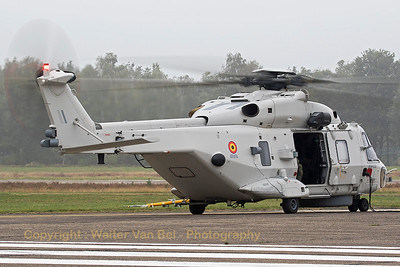This Belgian Air Force NH-90 NFH(RN-02; cn1041/NBEN02),is seen here leaving its parking position at the start of the hoisting-demo during the spottersday at KB, prior to the 2015 Sanicole Air Show.