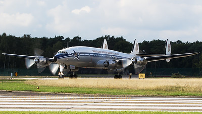 Breitling's L-1049F Super Constellation (HB-RSC, cn4175), exiting the active runway after a practise display during the spottersday at KB, prior to the Sanicole Air Show 2015.