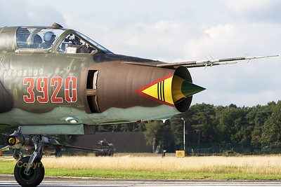 Close-up of a Polish Air Force Sukhoi Su-22M4 (3920; cn37920), turning onto the taxi-track at KB, after a rehearsal for the Sanicole Air Show 2015.